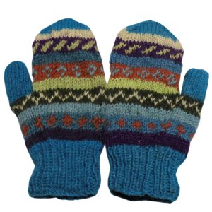 手袋 アジアン衣料 ネパール・ウール・ミトン手袋 裏フリース付き4|e-bingo