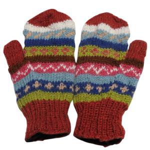 手袋 アジアン衣料 ネパール・ウール・ミトン手袋 裏フリース付き8|e-bingo