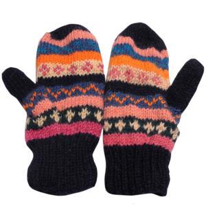 手袋 アジアン衣料 ネパール・ウール・ミトン手袋 裏フリース付き9|e-bingo