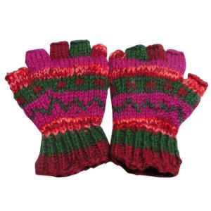 手袋 ネパールウール指無し手袋 裏フリース付き17|e-bingo