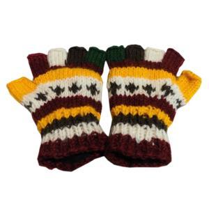 手袋 ネパールウール指無し手袋 裏フリース付き35|e-bingo