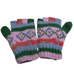 手袋 ネパールウール指無し手袋 裏フリース付き37|e-bingo