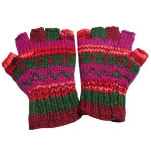手袋 ネパールウール指無し手袋 裏フリース付き39|e-bingo