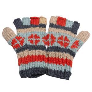 手袋 アジアン衣料 ネパール手編み指なし手袋1|e-bingo