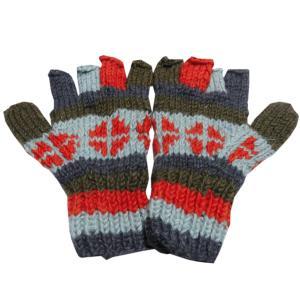 手袋 アジアン衣料 ネパール手編み指なし手袋17|e-bingo