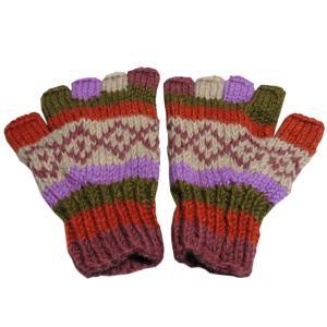 手袋 アジアン衣料 ネパール手編み指なし手袋2|e-bingo