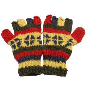手袋 アジアン衣料 ネパール手編み指なし手袋33|e-bingo