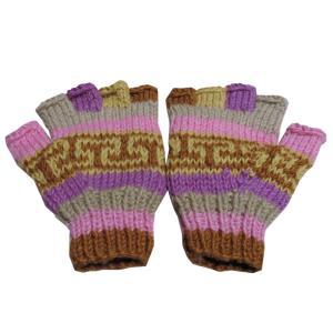 手袋 アジアン衣料 ネパール手編み指なし手袋36|e-bingo