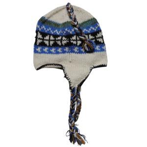 帽子 手編みの耳あて付きネパールの帽子11 e-bingo