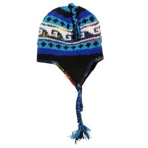 帽子 裏地フリース 手編み耳あて付のネパール帽子13|e-bingo