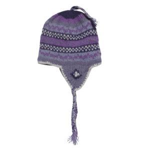 帽子 裏地フリース 手編み耳あて付のネパール帽子8 クリックポスト選択 送料200円 e-bingo