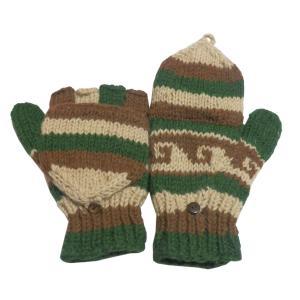 手袋 アジアン衣料 ネパール手編みカバー付き指なし手袋(フリース付)1|e-bingo