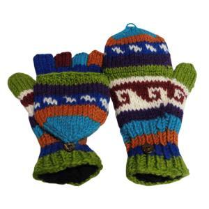 手袋 アジアン衣料 ネパール手編みカバー付き指なし手袋(フリース付)10|e-bingo