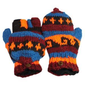手袋 アジアン衣料 ネパール手編みカバー付き指なし手袋(フリース付)11|e-bingo