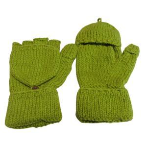 手袋 アジアン衣料 ネパール手編みカバー付き指なし手袋(フリース付)12|e-bingo