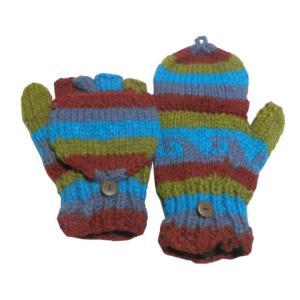 手袋 アジアン衣料 ネパール手編みカバー付き指なし手袋(フリース付)13|e-bingo