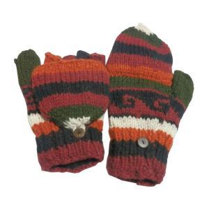 手袋 アジアン衣料 ネパール手編みカバー付き指なし手袋(フリース付)14|e-bingo