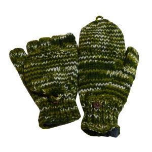 手袋 アジアン衣料 ネパール手編みカバー付き指なし手袋(フリース付)15|e-bingo