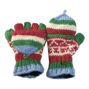 手袋 アジアン衣料 ネパール手編みカバー付き指なし手袋(フリース付)16|e-bingo