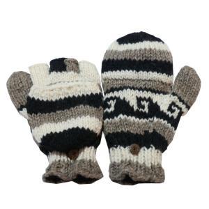 手袋 アジアン衣料 ネパール手編みカバー付き指なし手袋(フリース付)17|e-bingo