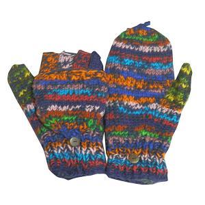 手袋 アジアン衣料 ネパール手編みカバー付き指なし手袋(フリース付)18 e-bingo