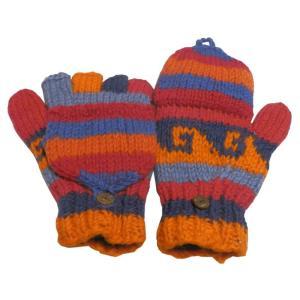 手袋 アジアン衣料 ネパール手編みカバー付き指なし手袋(フリース付)19|e-bingo