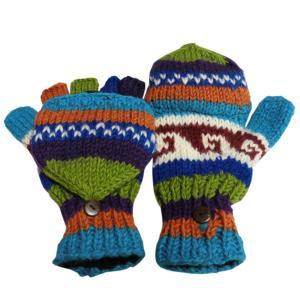 手袋 アジアン衣料 ネパール手編みカバー付き指なし手袋(フリース付)2|e-bingo