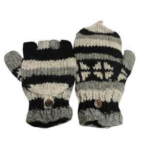 手袋 アジアン衣料 ネパール手編みカバー付き指なし手袋(フリース付)20|e-bingo