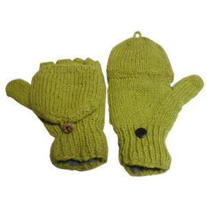 手袋 アジアン衣料 ネパール手編みカバー付き指なし手袋(フリース付)21|e-bingo