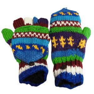 手袋 アジアン衣料 ネパール手編みカバー付き指なし手袋(フリース付)22|e-bingo