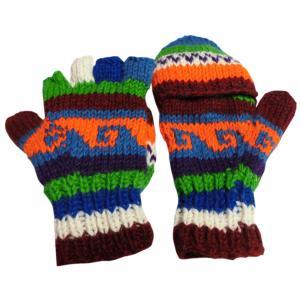 手袋 アジアン衣料 ネパール手編みカバー付き指なし手袋(フリース付)23|e-bingo