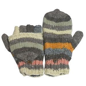 手袋 アジアン衣料 ネパール手編みカバー付き指なし手袋(フリース付)24|e-bingo
