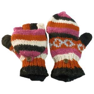 手袋 アジアン衣料 ネパール手編みカバー付き指なし手袋(フリース付)25|e-bingo