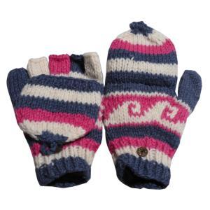 手袋 アジアン衣料 ネパール手編みカバー付き指なし手袋(フリース付)26|e-bingo