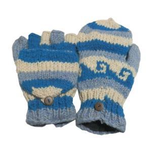 手袋 アジアン衣料 ネパール手編みカバー付き指なし手袋(フリース付)27|e-bingo
