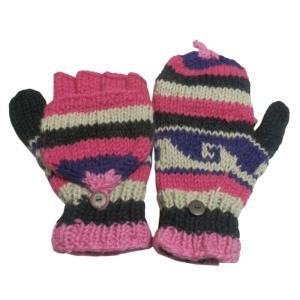 手袋 アジアン衣料 ネパール手編みカバー付き指なし手袋(フリース付)28|e-bingo