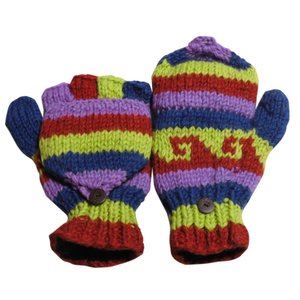 手袋 アジアン衣料 ネパール手編みカバー付き指なし手袋(フリース付)29|e-bingo