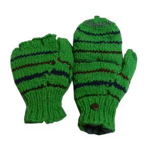 手袋 アジアン衣料 ネパール手編みカバー付き指なし手袋(フリース付)3 e-bingo