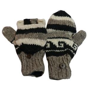 手袋 アジアン衣料 ネパール手編みカバー付き指なし手袋(フリース付)33|e-bingo