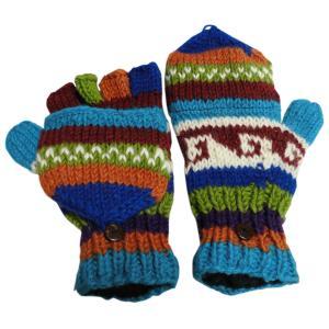 アジアン衣料 ネパール手編みカバー付き指なし手袋(フリース付)4|e-bingo