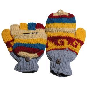 手袋 アジアン衣料 ネパール手編みカバー付き指なし手袋(フリース付)40|e-bingo