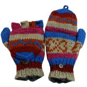 手袋 アジアン衣料 ネパール手編みカバー付き指なし手袋(フリース付)41|e-bingo