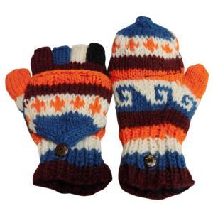 手袋 アジアン衣料 ネパール手編みカバー付き指なし手袋(フリース付)43|e-bingo