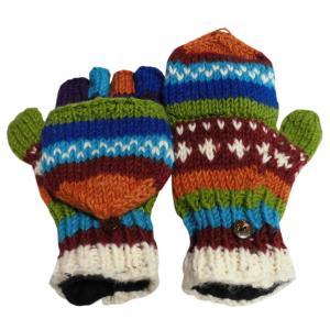 手袋 アジアン衣料 ネパール手編みカバー付き指なし手袋(フリース付)44|e-bingo