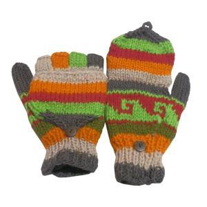 手袋 アジアン衣料 ネパール手編みカバー付き指なし手袋(フリース付)5 e-bingo