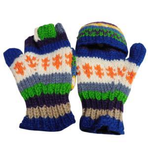手袋 アジアン衣料 ネパール手編みカバー付き指なし手袋(フリース付)6 e-bingo
