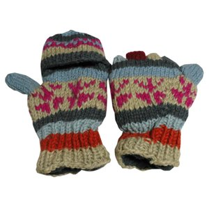 手袋 アジアン衣料 ネパール手編みカバー付き指なし手袋(フリース付)7|e-bingo