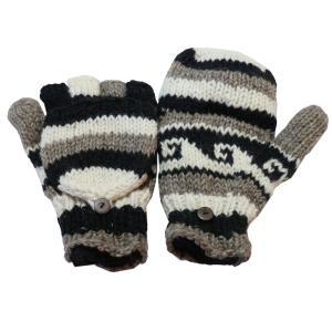手袋 アジアン衣料 ネパール手編みカバー付き指なし手袋(フリース付)8 e-bingo