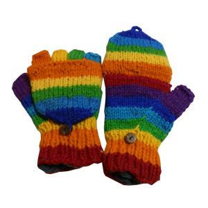 手袋 アジアン衣料 ネパール手編みカバー付き指なし手袋(フリース付)9 e-bingo