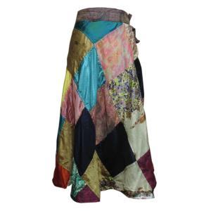 スカート 訳あり アジアン衣料 ネパール・シルク・ラップスカート17 クリックポスト選択 送料200円|e-bingo